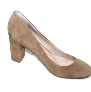 Lands End tan suede leather block heel round toe